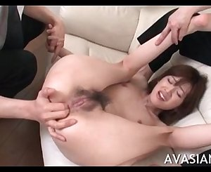 Tight hairy asian ass gets finger teasing before hard fuck