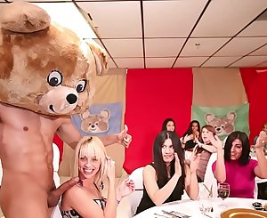 DANCING BEAR - A Bunch Of Horny Women Suck Masculine Stripper Dicks At A CFNM Party