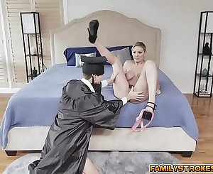Kenzie Taylor on her stepson Matthews long johnson and rides it all the way to climax