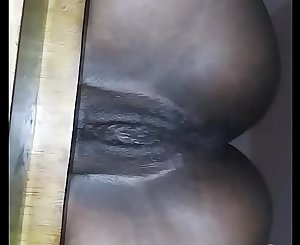 Pretty Ebony Pussy Sitting Nice On A Tabouret Then Fuck And Creampie Her
