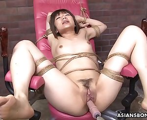 Tied up Japanese pornographic star Shiori Natsumi smashed with sex toys