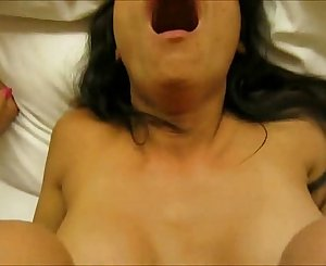 Asian brunette lovemaking and facial