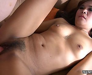 Adorable little Thai chick sucks a nice dick and gets banged